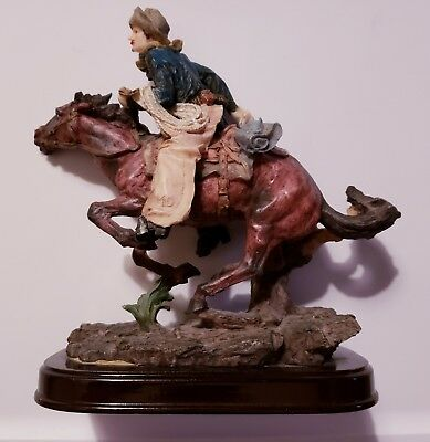 Ashley Belle Western Cowboy and Horse Resin Figurine