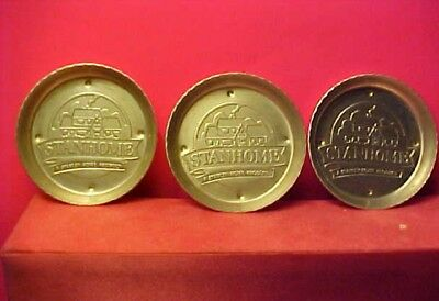3 vintage aluminum coasters: Stanhome A Stanley Home Product