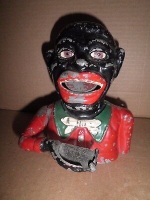 Original Black Americana aluminum Greedy  Boy Mechanical Bank 1940's