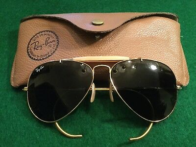 Vintage Ray Ban Pilot Driving Hunting Sunglasses Original Case Nice
