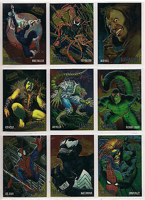 1995 Marvel Fleer Ultra Spider-Man Golden Web Chase Card Set Of 9 Nm