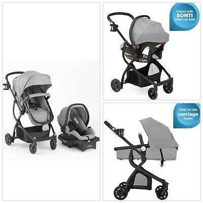 GRAY/GREY Urbini 3 in 1 Stroller Buggy Carriage Travel System Infant Car Seat