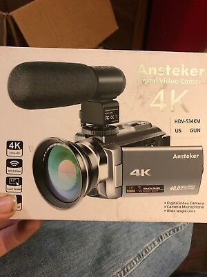 4K Camcorder,Ansteker 48MP 30FPS Ultra HD WiFi Video Camera IR Night Vision