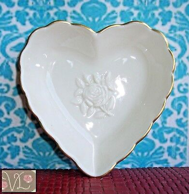 LENOX Heart Trinket Dish w/ Rose Center, From the SPECIAL Collection, USA Made