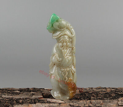 Chinese Exquisite Hand carved people fish Carving jadeite Jade statue