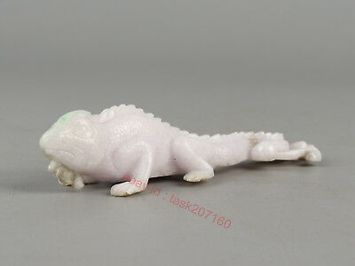 Chinese Exquisite Hand carved lizard Carving jadeite Jade statue