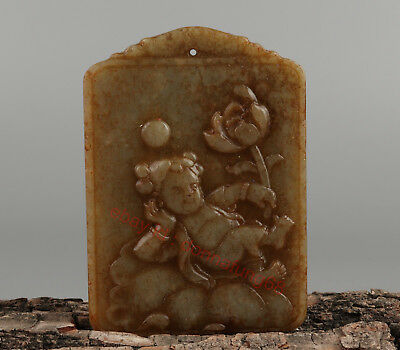 Chinese Exquisite Hand-carved lotus child Carving Hetian jade Pendant