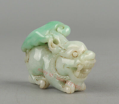 Chinese Exquisite Hand carved brave troops Carving jadeite Jade statue