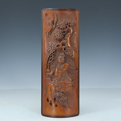 Chinese Exquisite Hand carved beauty Autumn landscape pattern bamboo Paperweight