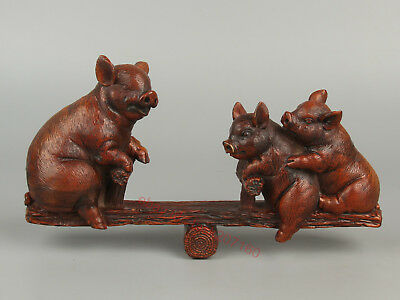 Chinese Exquisite Hand-carved Three pigs Carving Boxwood statue