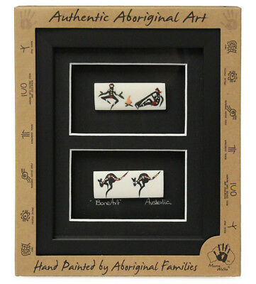 Aboriginal Framed Bone Art Twin