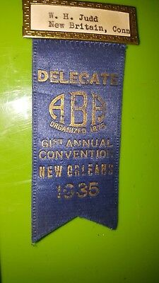 1935 Aba American Bankers Association Pinback New Orleans Convention W.h. Judd