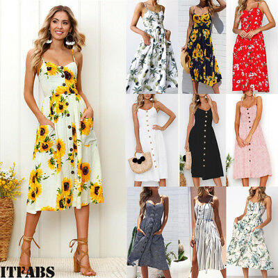 Womens Summer Boho Casual Long Maxi Evening Party Cocktail Beach Dress Sundress
