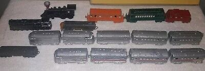 Lot of 16 Vintage Metal Die cast Trains  Lot Midget Toy , tootsie and more look