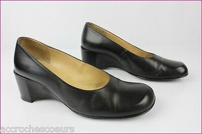 576a31794 Court shoes Wedge Heels SAN MARINA Paris Leather Black T 38 VERY GOOD  CONDITION
