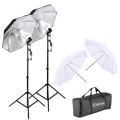 "Kshioe 45W 33"" White Umbrellas 33"" Silver Black Umbrellas Lighting Kit Set"