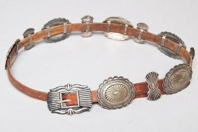 Vintage Signed Leather & Sterling Silver Southwestern Concho/Concha Belt 40""