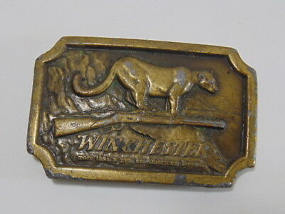 Vintage Collectible 1970s Winchester Belt Buckle w/ Mountain Lion