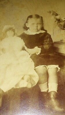 Cabinet Card Cute Blonde toddler girl w/ doll Manchester  Photographer Antique