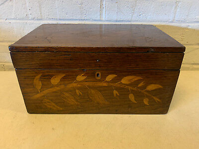Antique Likely American Mahogany Wood Inlaid Wood Box w/ Stars Leaves Branch Dec