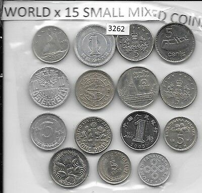 WORLD x 15 Mixed  Small Coins