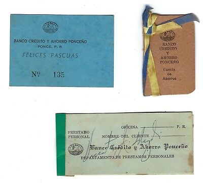Vintage Bank Credit & Savings of Ponce Puerto Rico, 1950's Souvenirs, Scarce
