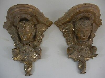 "12"" Pair Hand Carved Wood Gold Gilt Putti Cherub Italian Wall Bracket Shelves"