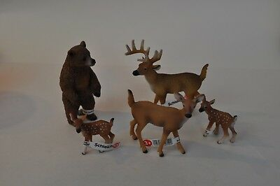 Lot Of 5 Schleich , Bear, Buck & Fawn Toy Figures Figurines New         g58