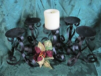 5 Heavy Pillar Candle Holders Black Wrought Iron Ornate Medieval Goth SALE!