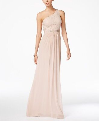 Adrianna Papell Embellished Lace One-Shoulder Gown MSRP $179 Sz 10 # 3A 520 Blm