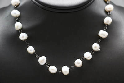 .925 Sterling Silver Genuine White Round Pearl Chain Necklace (27.6g)