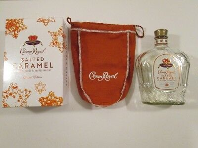 Crown Royal Salted Caramel Limited Edition Whiskey Empty 750ml Bottle, Box & Bag