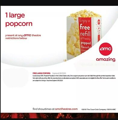 AMC Theater 2 Large Popcorn + 2 Large Drink Exp 6/30/20 FAST email free DELIVERY