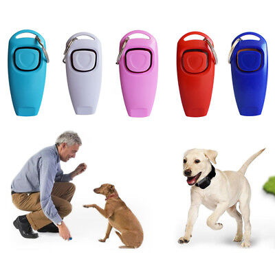 Dog Puppy Clicker Whistle Obedience Pet Training Cat Trainer Teaching tools UK W