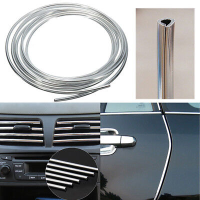 U Style Chrome Silver Moulding Trim Car Door Protects Strip Grille Decorating 5M