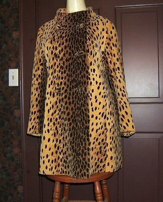 Vintage Faux Leopard Coat 1960's Large Travelcoats By Naman Stunning Wow!