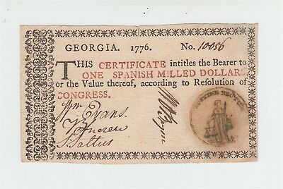 Colonial Currency 1776 Georgia $1 Note *BEAUTIFUL* / One Dollar Bill