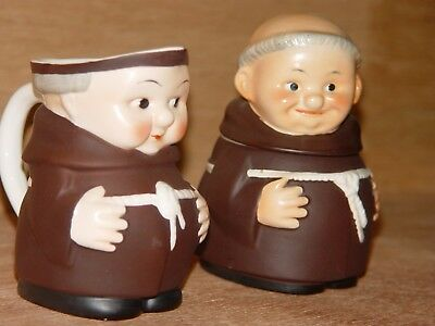 Rare Cardinal Goebel Friar Tuck Monk Cream Pitcher and Sugar Bowl Set with Lid