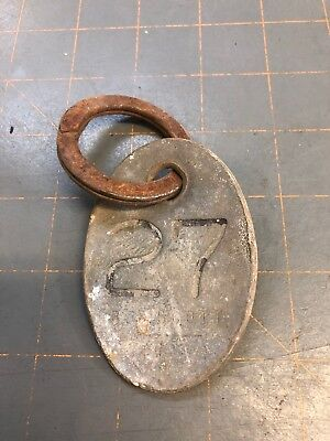 Vintage Brass Cow Tag #27, Heavy Ring, Number On Both Sides, Farm Collectible