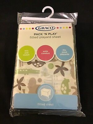 Graco Pack 'N Play Fitted Playard Sheet - Zoofari Animals - Fits Most Playards