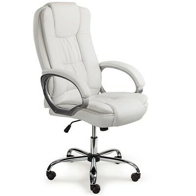 Executive Premium Office Computer Chair PU Leather Recliner Seat White