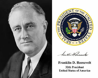 Franklin Delano Roosevelt FDR Presidential Seal Autograph 8 x 10 Photo Picture