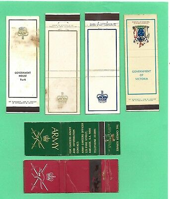 Lot of Very rare Australian match booklets for the GOVERNOR + ARMY