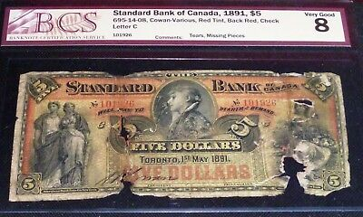 The Standard Bank of Canada $5 1891 RED TINT- SCARCE