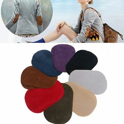 DIY 2Pcs Sewing Applique Suede Leather Iron-on Oval Elbow Knee Patches Repair