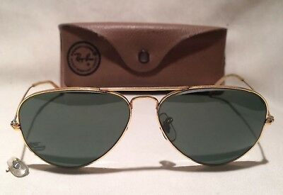 Vintage Ray Ban 58-14 Bausch & Lomb Pilot Aviator Sunglasses B&L With Case Gold