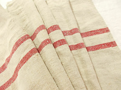 Vtg Antique RUSTIC RED STRIPE European HEMP LINEN Fabric FEED SACK GRAIN BAG 56""