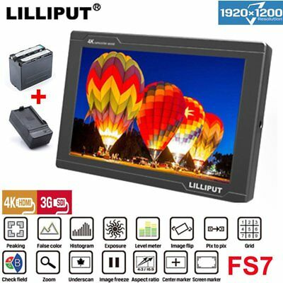 "Lilliput FS7 7"" 1920*1200 Top Field Camera Monitor +Battery For Camera Camcorde"