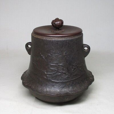 A017:Antique Japanese Cast Iron Teapot Kama Chagama Furogama Tetsubin Copper Lid