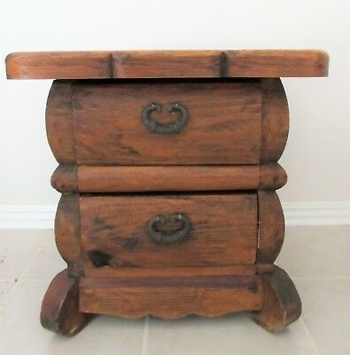 Vintage Night Stand Table Solid Wood Rustic Mexican Handmade with Two Drawers